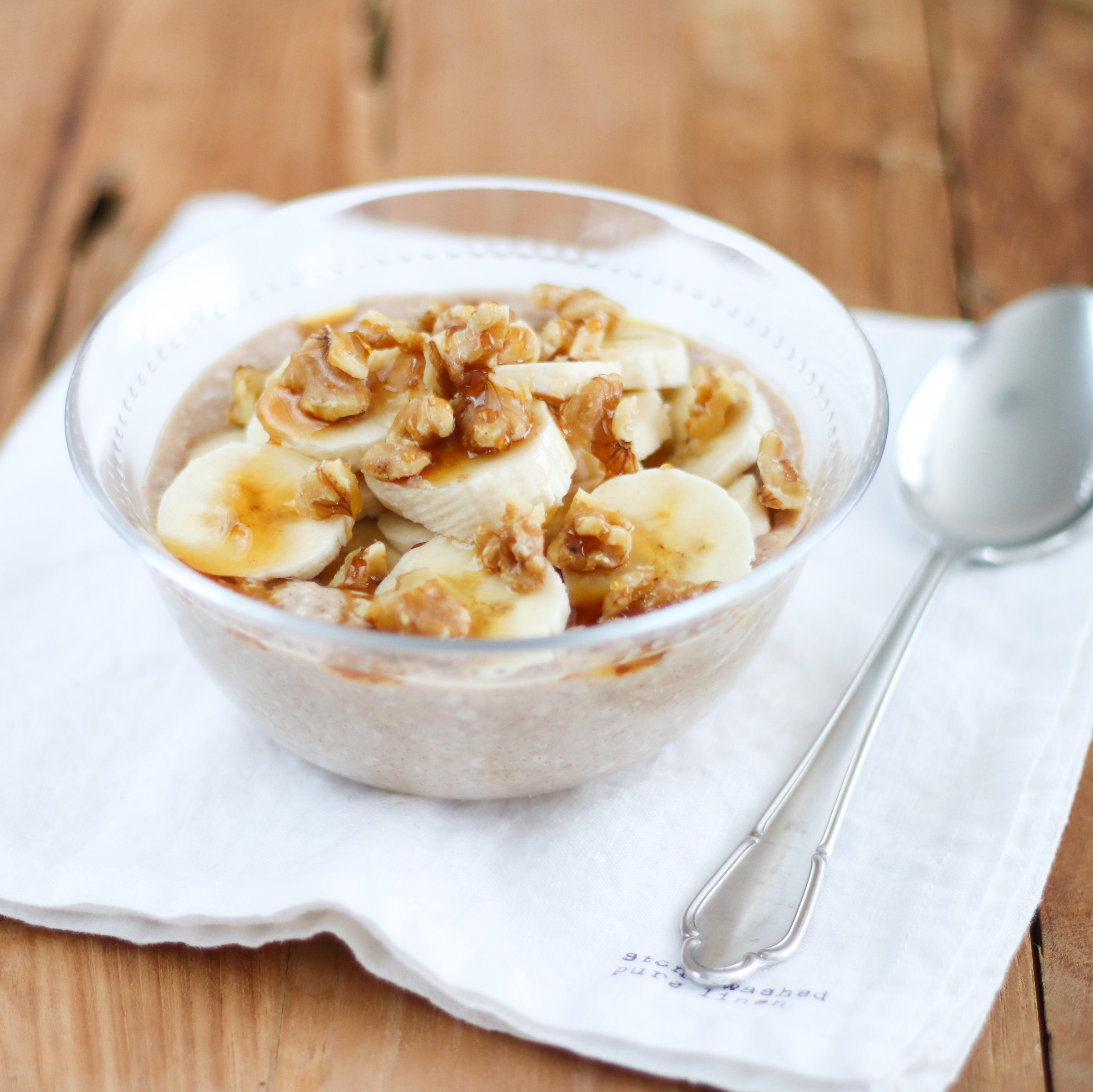 Overnight oats met banaan en kaneel