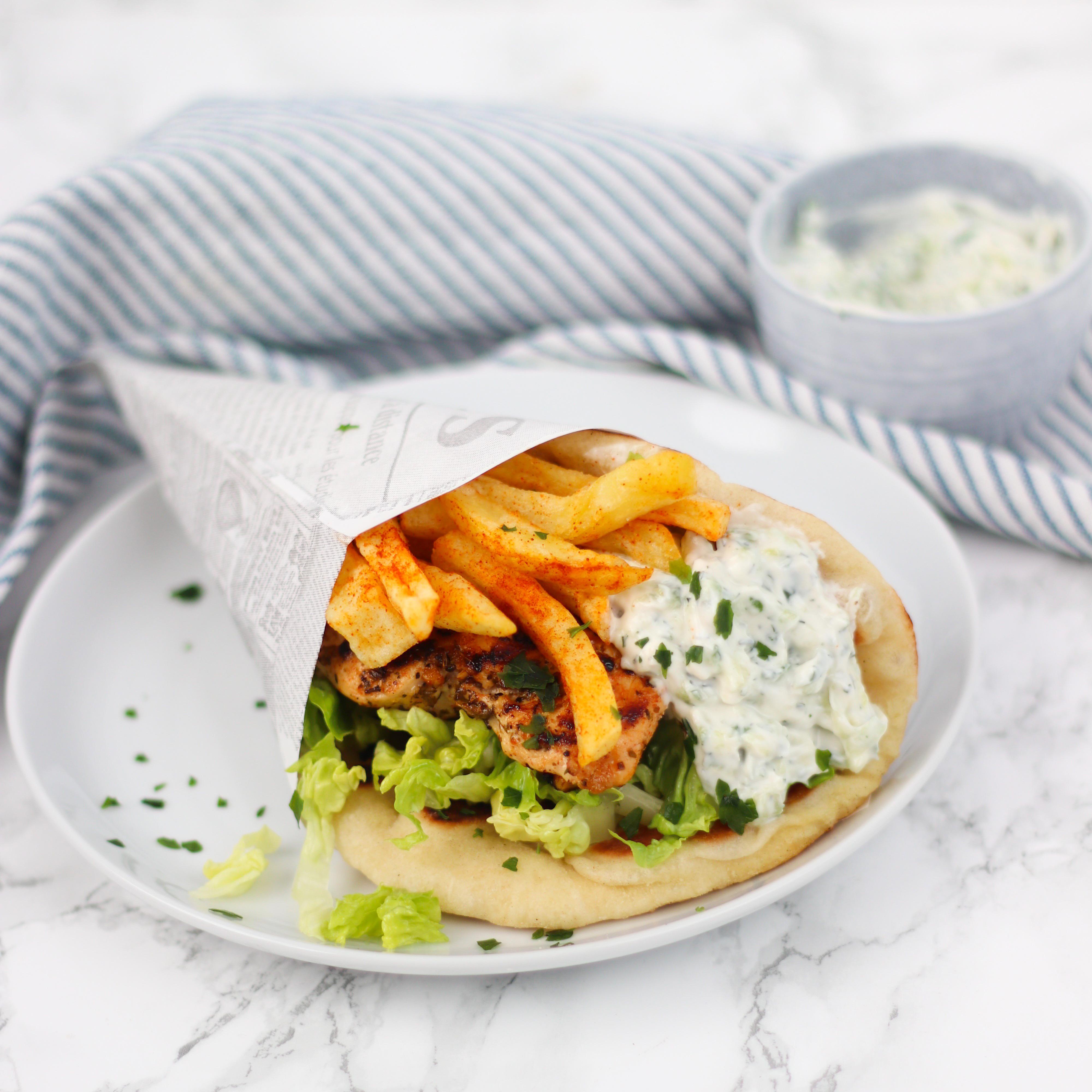 Griekse pita's met kipsouvlaki